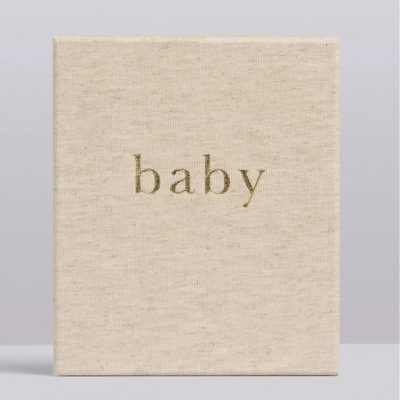 Boxed linen gender neutral baby record book