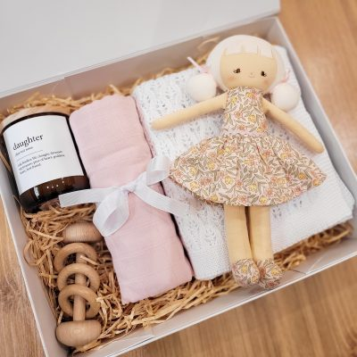 Pretty Floral Pink Baby Gift Box