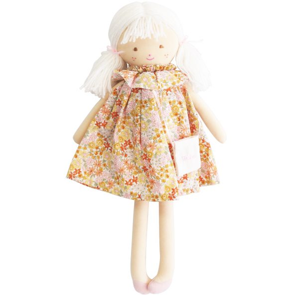 Pretty Blonde doll with mustard floral dress